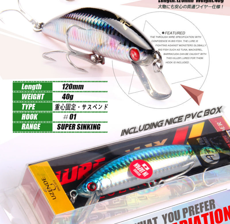 LOT  OF 4 BEARKING FISHING LURES SINKING BAITS 40 Gr , 12 Cm  exclusive designs