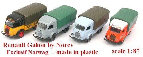Norev Set de 4 Renault Galion 2,5t camions bâchés Echelle 1//87