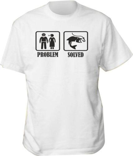 FISHERMAN t shirt problem solved funny mens gift fishing birthday FISH