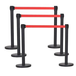 6 PCS Crowd Control Barrier Stanchion Posts Queue Pole Retractable Red Belt