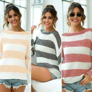 Loose-Sweater-Long-Sleeve-Knit-Shirt-Knitwear-Jumper-Womens-Knitted-Pullover