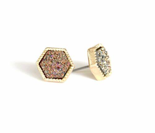 Druzy Stone Stud Earrings Gold