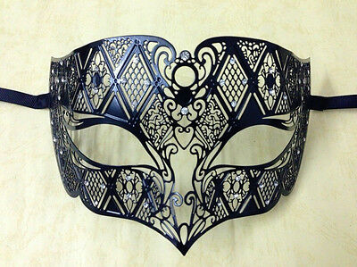 Male Diamond Design Black Laser Cut Venetian Masquerade Metal Filigree Mask Men