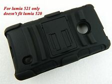 BLACK RUGGED HYBRID Stand CASE COVER+Belt CLIP HOLSTER FOR Nokia Lumia 521