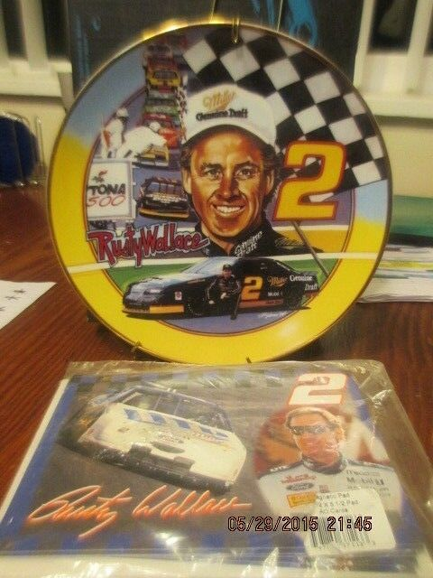 LIMITED EDITION Rusty Wallace NASCAR 8  collectors plate & magnetic pads