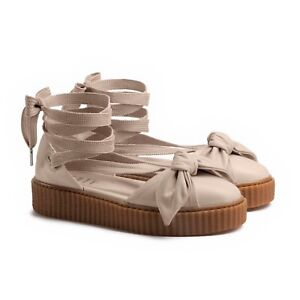 premium selection 2e0ed ea3dd Details about PUMA FENTY Rihanna Beige Oatmeal Lace Up Bow Creeper Sandals  Espadrille Sz 7 New