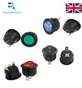 Rosso-Verde-Blu-Nero-Neon-20mm-Interruttore-a-Bilanciere-Rotondo-240-220v-On
