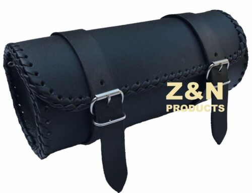 MOTORCYCLE MOTORBIKE REAL LEATHER TOOL ROLL SADDLE BAG ZN-TRB003