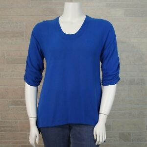 Oh-My-Gauze-1-SMALL-MEDIUM-Blue-Ruched-3-4-Sleeve-Asymmetrical-Hem-Shirt-Tunic