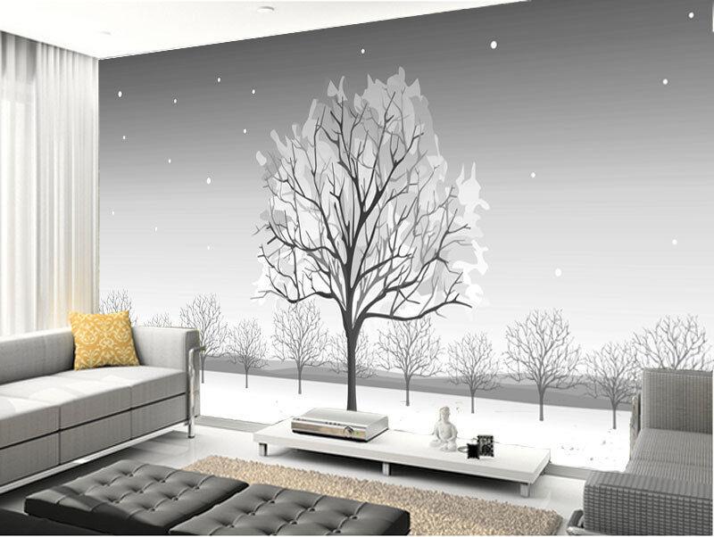 Winter Elegant Snowy Tree Trunk Full Wall Mural Photo Wallpaper Home Dec 3D Kids