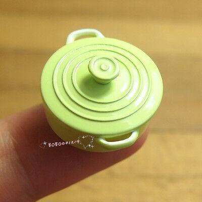 """Dollhouse Miniature 1:12 Toy A Small Metal Green Stock Pot Soup Pot L1"""" SPO374"""