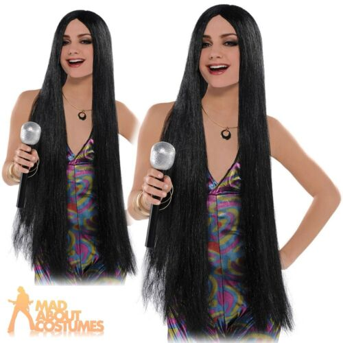 Adult Long Black Hair Cher Wig Ladies Witch Fancy Dress Outfit Costume Accessory