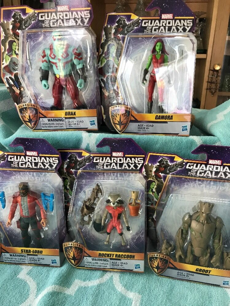 5  Marvel Guardians Galaxy Groot Drax Gamora Rocket Starlord Action Figures set