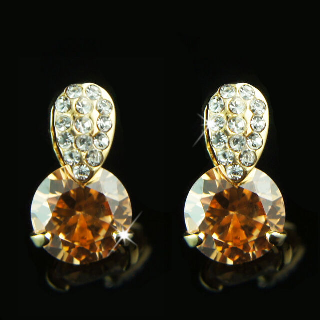 18k Gold GF orange Diamond cut crystals cluster earrings with Swarovski elements