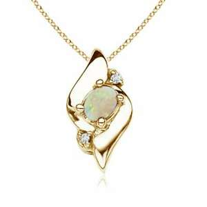 Shell-Style-Oval-Opal-and-Diamond-Pendant-Necklace-14K-Yellow-Gold-18-034-Chain