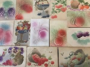Lot-of-16-Fruit-Fruits-Heavy-Embossed-Airbrushed-Greetings-Postcards-s-154