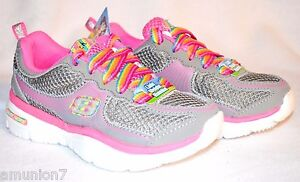 Details about Skechers Lite Sprints Girls Shoes Size 11 12 Gray Pink Lightweight Sporty Shorty