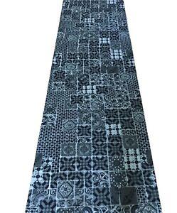 Details zu Tappeto cucina passatoia a metro grigio antracite nero h 67 cm  moderno cementine