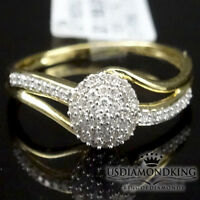 Designer Ladies Womens 10k Yellow Gold Genuine Real Diamond Engagement Ring Band