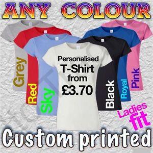 Personalised-Printed-Ladies-Tshirts-Women-039-s-Custom-Design-T-shirt-Free-Postage