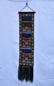 Vintage-Chinese-Embroidery-Embroidered-Textile-Fabric-Panel-w-3-Pocket