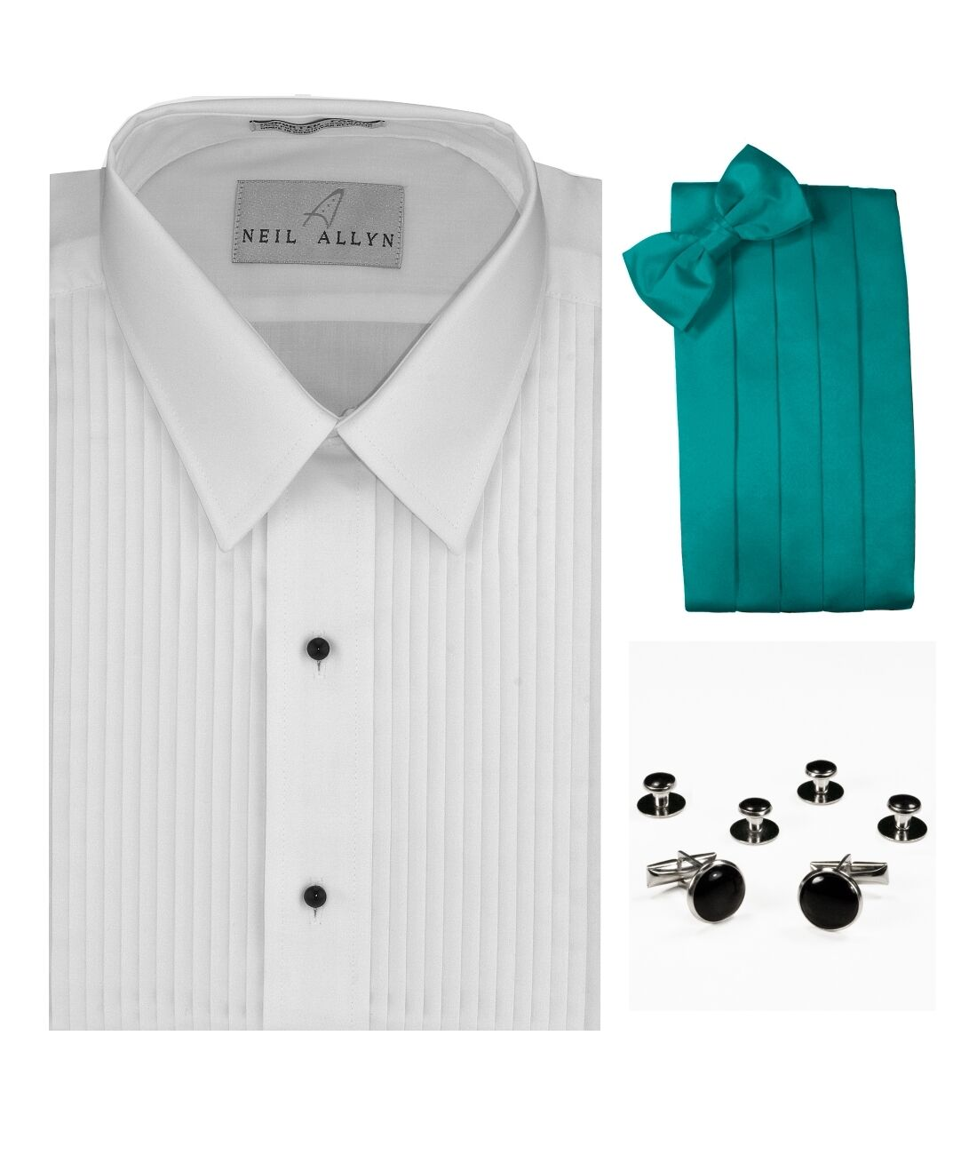 Tuxedo Shirt, Teal Cummerbund, Bow-Tie, Cuff Links & Studs