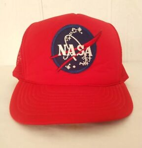 5e4d8e9c80e Vintage NASA Red Trucker Hat USA Space Logo Old Style Rope Snap Back ...