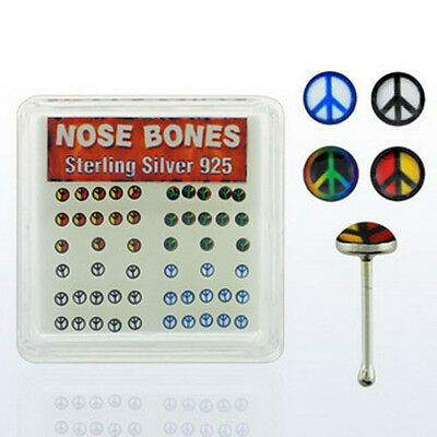 1-4PC 22G (0.6mm) Sterling Silver Nose Bone Two Color Peace Sign Logo Tops Sets
