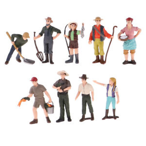 9-Pieces-HO-Scale-Tiny-Painted-Figures-Standing-People-Farm-Worker-Model-Toy