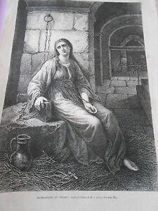 Gravure 1865 - Marguerite En Prison D'après M. J. Grund