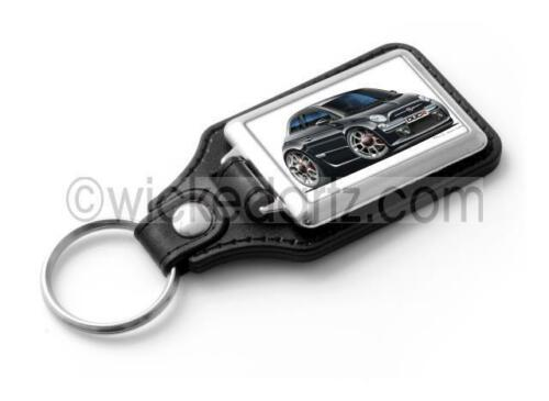 WickedKarz Cartoon Car Fiat 500 in Black Stylish Key Ring