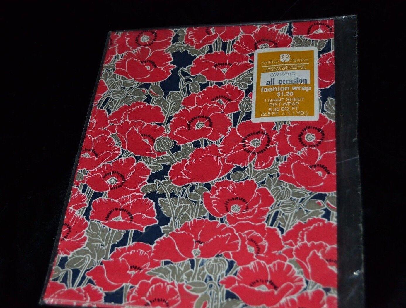 Vintage American Greetings Paper Gift Wrap Red Poppy Poppies Flowers