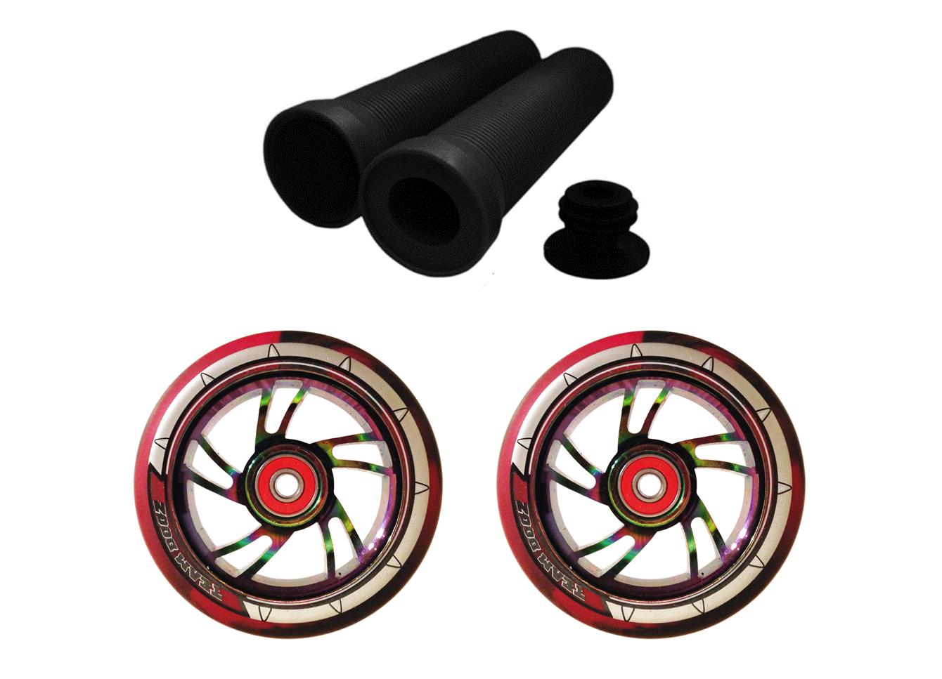 Rollerräder 100mm Kombo Paar Schwarz Rot Regenbogen Regenbogen Regenbogen Swirl Kern + Lenkergriffe    Niedriger Preis und gute Qualität  472261