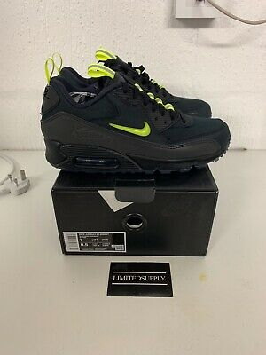 Details about Nike Air Max 90 Basement BSMNT Manchester Black Neon Yellow Cordura UK 7 8 9 US