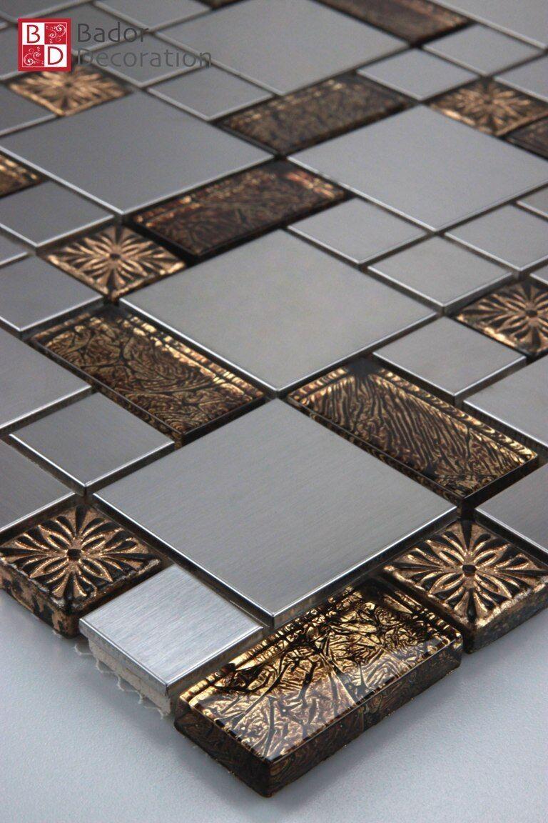 Glasmosaik Mosaikfliesen fliesenmosaik aus Glas Edelstahl glänzend Braun Silber