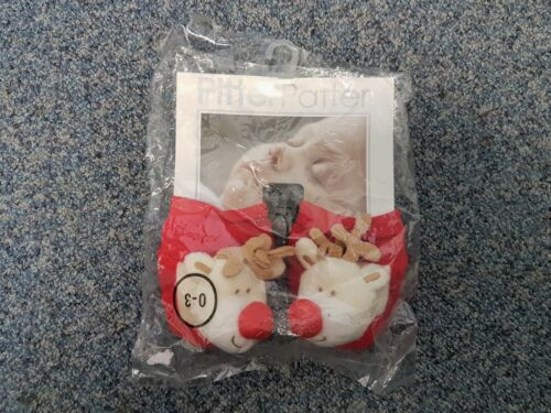 Baby Infant Rudolph Reindeer Soft Booties Bootees Slippers Christmas 0-3 3-6 6-9