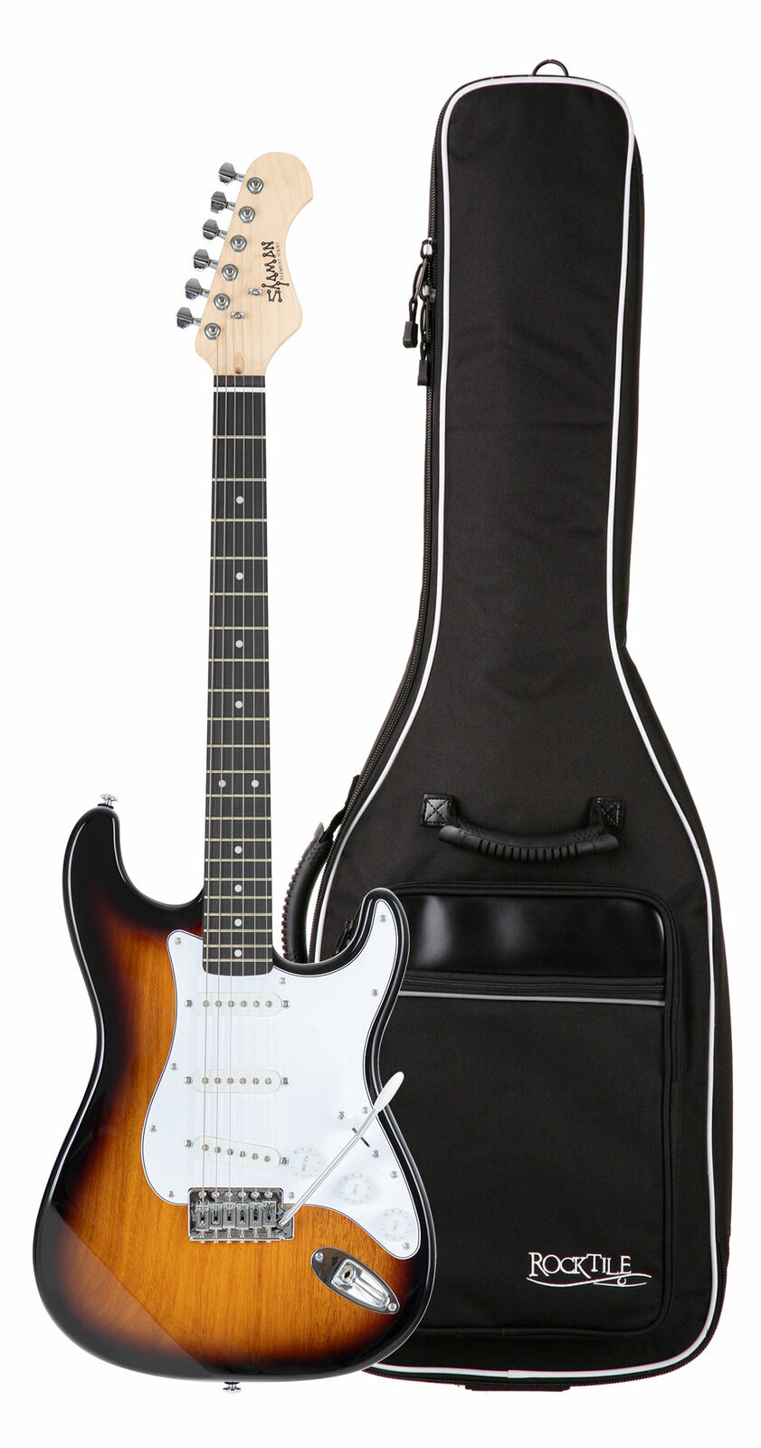 Traumhaftes Shaman E-Gitarren Set ST Style mit 3 Single Coil mit Gigbag Sunburst
