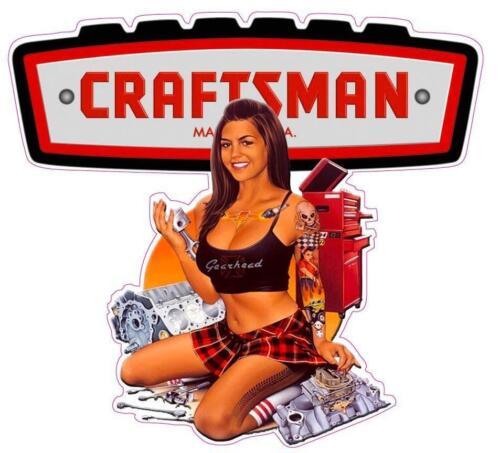 Vintage Craftsman Pinup Girl Vinyl Decal Sticker Car Truck Mechanic Tool Box