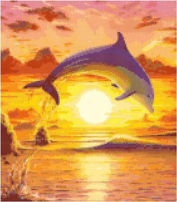 Cross Stitch Chart Pattern Dolphin Sunset (1) Needlework Picture Design Craft
