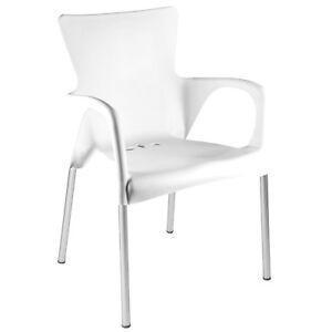stuhl stapelstuhl bistrostuhl cafe gartenstuhl 4er set wei kunststoff stapelbar ebay. Black Bedroom Furniture Sets. Home Design Ideas