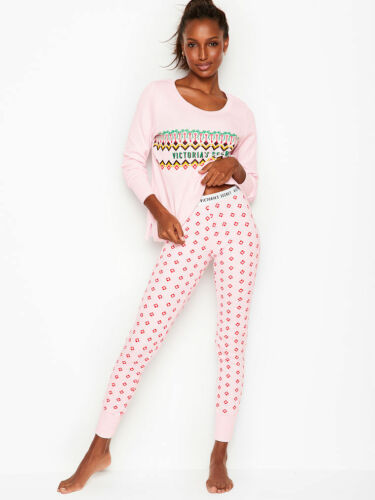 Nwt Victoria/'s Secret 2 Stück Pyjama das Thermo Pj-Satz Rot Kariert Blau Xs S M