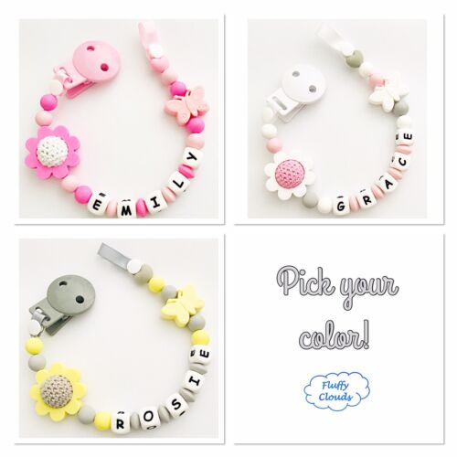 Dummy Clip Personalized Silicone Bead Pacifier Holder Soother ~ Baby Girl Flower