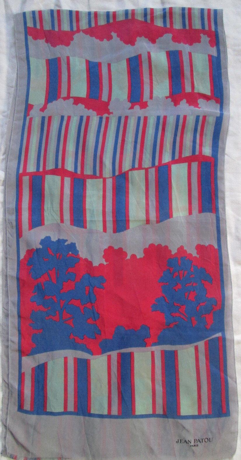 - scarf jean patou vintage silk scarf 30 x 125 cm