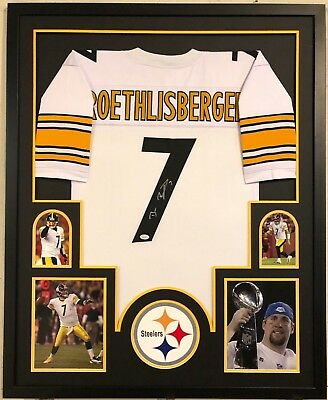 9feeca018 FRAMED PITTSBURGH STEELERS BEN ROETHLISBERGER AUTOGRAPHED SIGNED JERSEY JSA  COA
