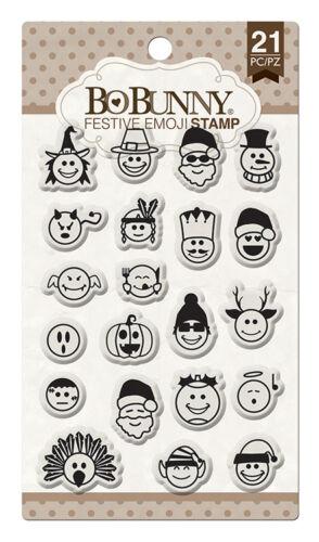 BoBunny Clear Acrylic Stamps Festive Emoji Bo Bunny