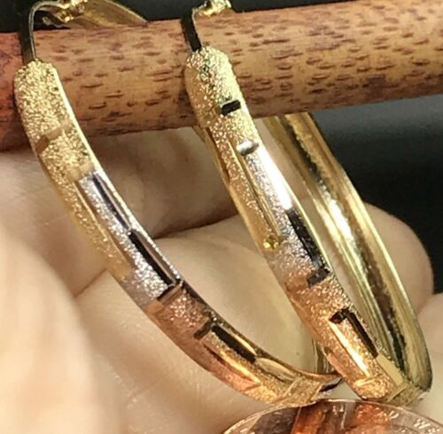 40mm GOLD hoop earring 10K endless YELLOW WHITE Rose Tri 3.2g 3mm