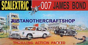 Scalextric-1968-James-Bond-Set-Gran-Cartel-Anuncio-signo-Aston-Martin-Mercedes
