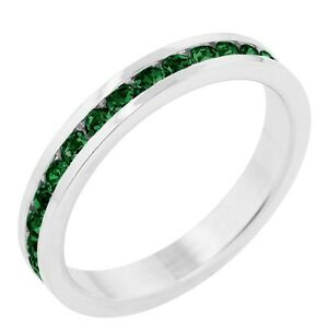 18K-W-GOLD-EP-EMERALD-ROUND-ETERNITY-RING-size-5-10-you-choose