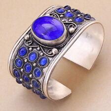 Excellent Lapis lazuli Bead Cuff Bracelet Tibet Silver Jewelry Woman Gift