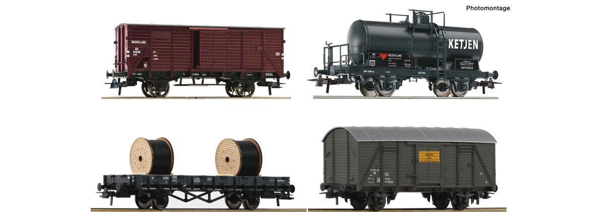 ROCO 76134, 4tlg. carri merci set, NS, nuovo e in Scatola Originale, Prodotto Nuovo